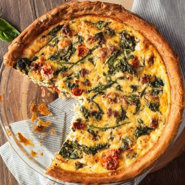 quiche on a table
