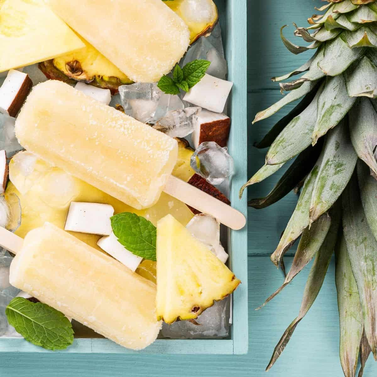 Pineapple coconut posicles